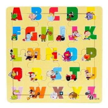 Preschool Alphabet A - Z  each Letter with one Animal Wooden Puzzle