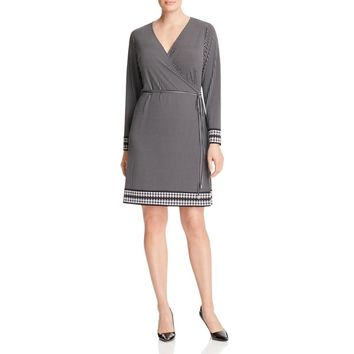 Michael Kors Womens Matte Jersey Printed Wrap Dress B/W 2X