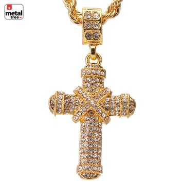 """Jewelry Kay style Men's Iced Out 14k Gold Plated Cross Pendant 24"""" Rope Chain Necklace HC 1104 G"""