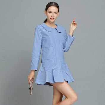 Casual Gray Blue Smoke Long Sleeve Peter Pan Collar Button Down Fishtail Mini Dress