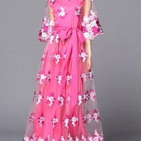 Rose Gauze Floral Embroidered Layered Tie-Waist Maxi Dress