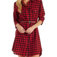 Red Combo Checkered Print Shirt Dress by Charlotte Russe
