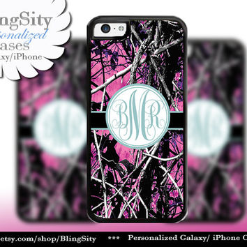 Camo Blue Monogram iPhone 5C 6 Plus Case iPhone 5s 4 case Ipod muddy Realtree Personalized Country Inspired Girl