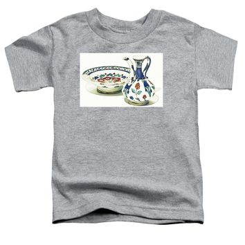 An Ottoman Iznik Style Floral Design Pottery Polychrome, By Adam Asar, No 4a - Toddler T-Shirt
