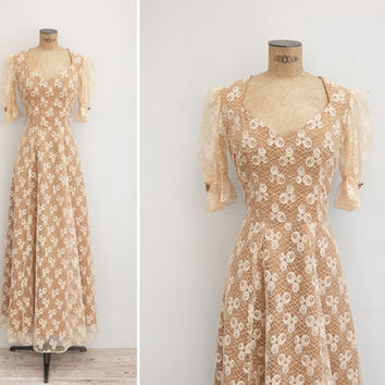 1970s Dress - Vintage 70s Lace Dress - La Seine Dress