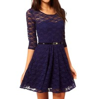 Women Sexy Lace Middle Sleeve Flower Print Casual Dresses Scoop Neck With Belt S