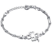 White Gold Plated Sterling Silver Womens Anklet Bracelet for Women with Open Four Leaf Clover Open