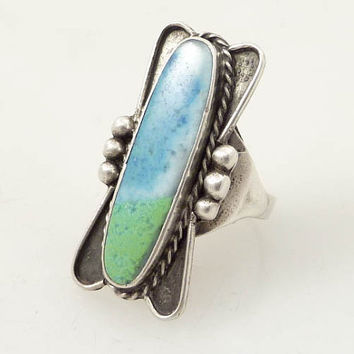 Size 8 Vintage Native American Royston Turquoise Sterling Ring