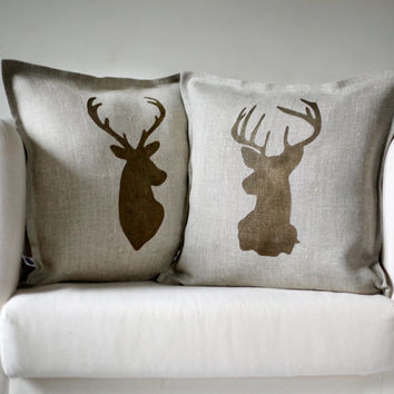 Deer head pillows set of 2 Reindeer antique bronze hand  print on natural linen pillow covers 14x14 inch size/inserts included   0123