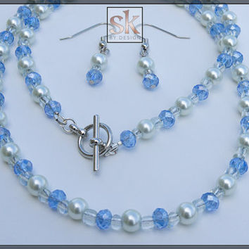Swarovski Jewelry Set,Classy Pearl and Blue Swarovski Jewelry Set, Necklace and Earrings Set, Bridesmaid Jewelry, Bridal Jewelry Set(#5034)