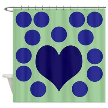 Blue Hearts And Dots On Green. Shower Curtain> Polka Dotted Shower Curtains> Shower Curtains