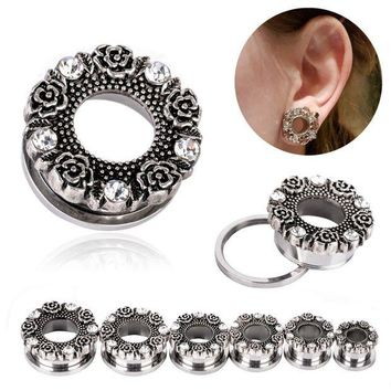 ac DCCKO2Q 1Pair Hollow Ear Expansions Stainless Steel Ear Expander Flower Crystal Flesh Tunnel Ear Plug Stretcher Body Piercing Jeweley