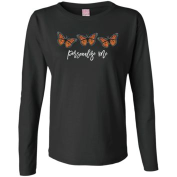 Three Monarch Butterflies Personalized  Ladies' LS Cotton T-Shirt
