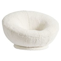 Sherpa Ivory Faux-Fur Groovy Swivel Chair