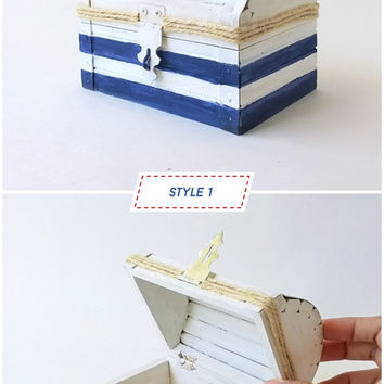 Nautical Treasure Chest - Treasure Chest - Keepsake Box - Nautical Wedding Ring Bearer - Navy Gift Box - Beach Wedding