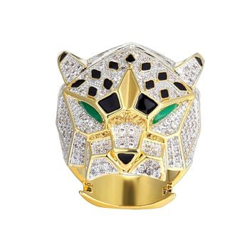 New Men's Iced Out Panther Emerald Eye Designer Ring