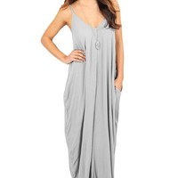 Gray Pocketed Spaghetti Strap Casual Maxi Dress