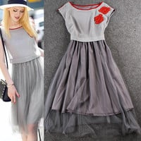 Gray Flower  Embroidered Sleeveless Layered Pleated Mesh Shirt