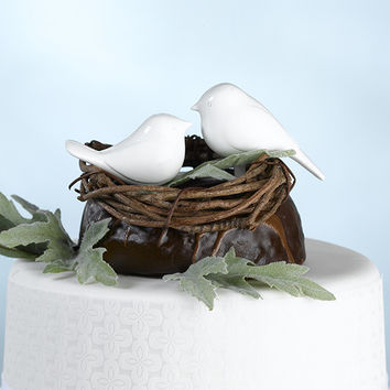 White Love Birds Cake Topper