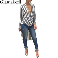 Glamaker Swallowtail striped women blouse shirt 2016 Autumn long sleeve deep v neck loose casual blouse blusas Party sexy tops