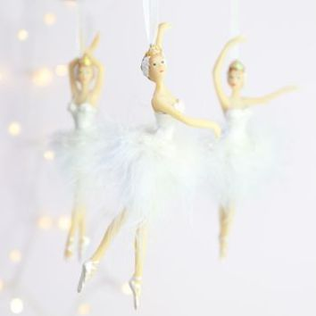 Set Of Three Feather Ballerina Hanging Decorations