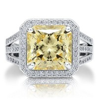 Sterling Silver 925 Huge Princess Cut Canary Cubic Zirconia CZ Ring #r549