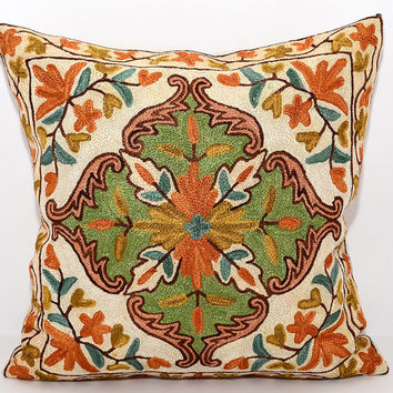 16x16 very beautiful pillow, fully hand silk embroidery cushion, floral pattern. amazing design. orange. green. pillow