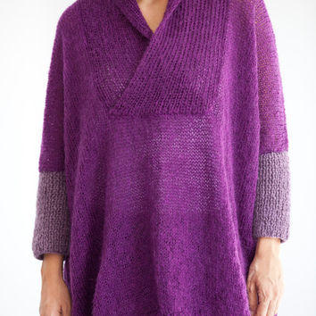 Plus Size Hand Knitted Sweater- Purple Lilac - Poncho - Tunic - Dress by Afra