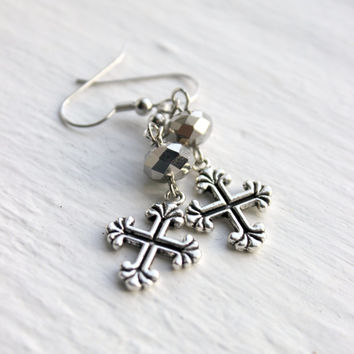 Simple Metallic Silver Beaded Cross Dangle Earrings - Handmade Christian Jewelry - Gift Idea - Ready to Ship