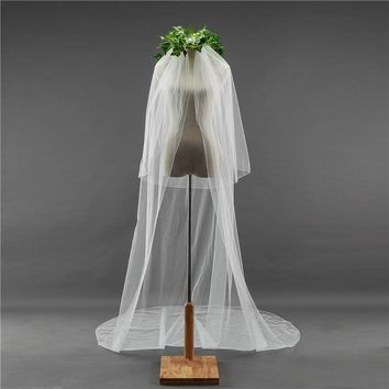 Simple Beautiful long Wedding Veil Bridal blusher veil Voile cut