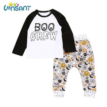 LONSANT 2018 Baby Boy Girls Letter Pumpkin T shirt Tops+Pants Funny Halloween Outfits Set Unisex Children Clothing Dropshipping