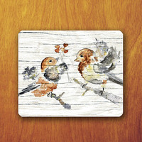 Bird Painting On The Wood Mouse Pad Vintage Lover Animal Mousepad Wooden Desk Deco Office Fabric Soft Rubber Pad Christmas Gift For Teacher