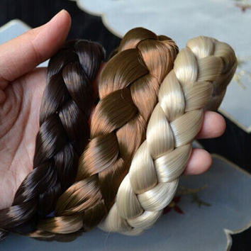 2.5cm wide New Arrival freeshipping fashion bohemian wigs braid thick wide headband popular fashion hair accessories