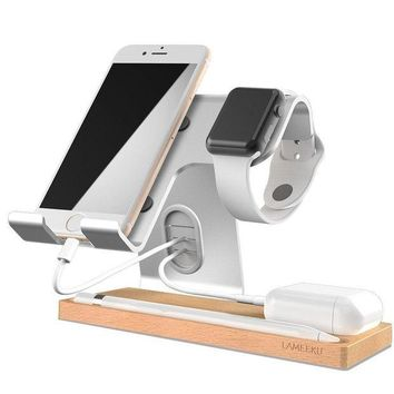 DCK4S2 Cell Phone Stand, LAMEEKU Apple Watch Stand : Dock Cradle Holder For Switch, Apple Watch, all Smartphone, iPhone X 6 6s 7 8 Plus, Airpods Apple Pencil iPad and Tablet - Silver
