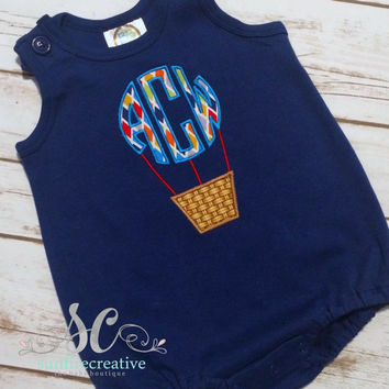 Baby Boy Outfit Navy Bubble Hot Air Balloon Monogram