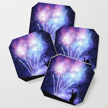 Blue and pink fireworks Coaster by savousepate