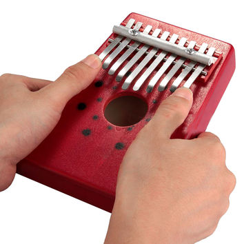 SEWS 2015 Hot Sale Red 10Keys Kalimba Thumb Piano Traditional Musical Instrument Portable Great Gift Drop Shipping