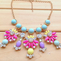 Colorful Floral Jeweled Cluster Necklace,Designer Inspired Girls Necklace,Gift for Her,Summer Necklace