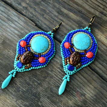 Egyptian Inspired Embroidered Earrings Scarab Earrings Beadwork Earrings Turquoise Seed bead Egyptian Earrings Bead Embroidery Jewellery