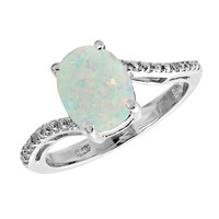 Oval Created Opal and Diamond Ring - Size 5