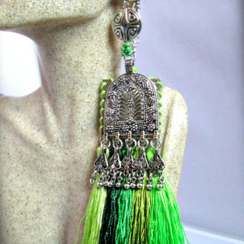 Bohemian green tassel ear weights-bohemian dangle earring for Stretched Ears-ear tunnel earring-tribal earrings ear weights-ear plugs