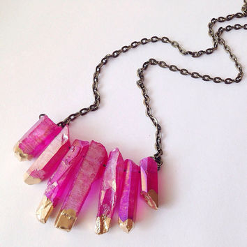Pink Aura Quartz Crystal Necklace Healing Crystals and Stones Raw Crystal Choker Pink Titanium Crystal Bohemian Yoga Necklace Meditation