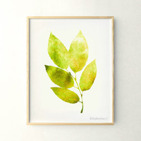 Yellow green leaves art, Living room decor, Nature wall art printable 11x14 art print, Green Home decor Wall art poster, Printable print art