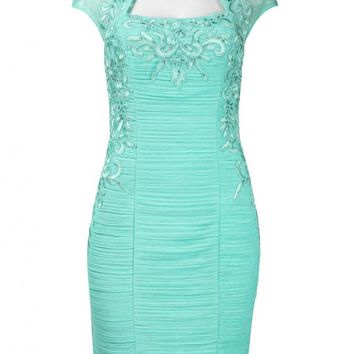 Sue Wong N4162 Bolero Embroidered Sheath Turquoise Cocktail Dress - Size 14
