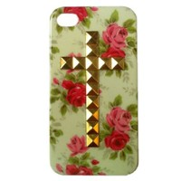 Punk Single Cross Studs and Spikes Mobile Phone Case for iPhone 5 Cell Phone Case Flower Golden