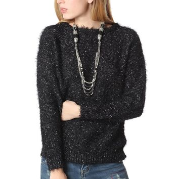 Black speckled sweater in soft touch fabric