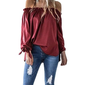 Bow Tie Cuffs Long Sleeve Top