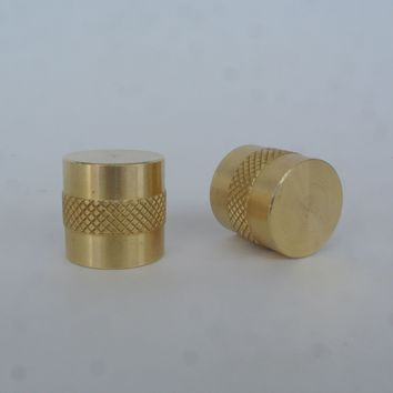 Brass Diamond Band Drawer Pull / Knob - Pair