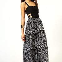 Viv PU Detail Cutout Side Printed Maxi Dress