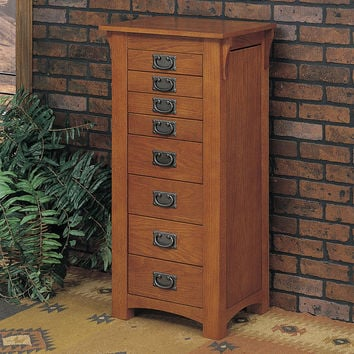 Powell Mission Oak Jewelry Armoire with Mirror